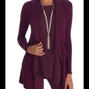 WHBM Burgundy open Front Draped Cardigan